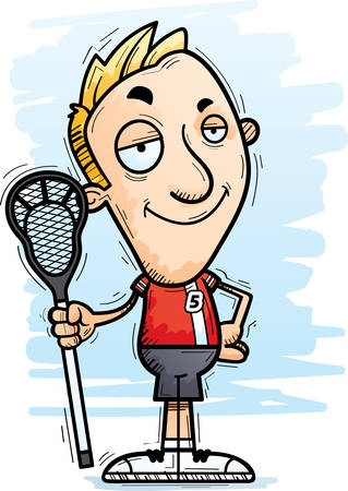 A cartoon illustration of a man lacrosse player looking confident.