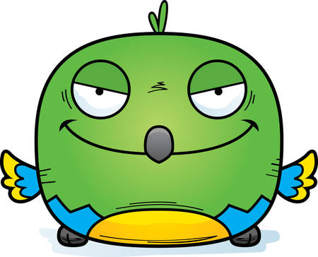 A cartoon illustration of an evil looking parrot. Stockfoto - 102047621