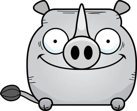 A cartoon illustration of a little rhinoceros peeking over an object. Archivio Fotografico - 102047629