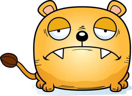 A cartoon illustration of a lioness cub with a sad expression.