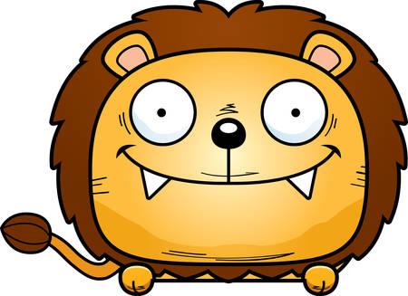 A cartoon illustration of a lion cub peeking over an object.