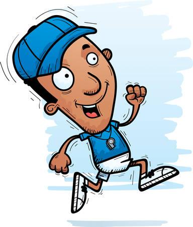 A cartoon illustration of a black man coach running. 向量圖像