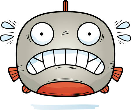 A cartoon illustration of a piranha looking scared.