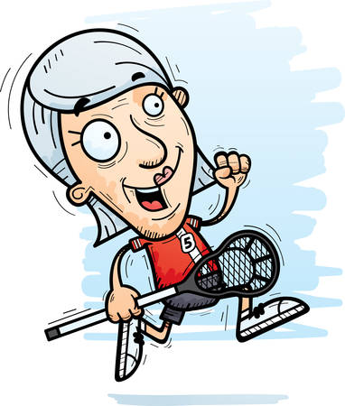 A cartoon illustration of a senior citizen woman lacrosse player running.