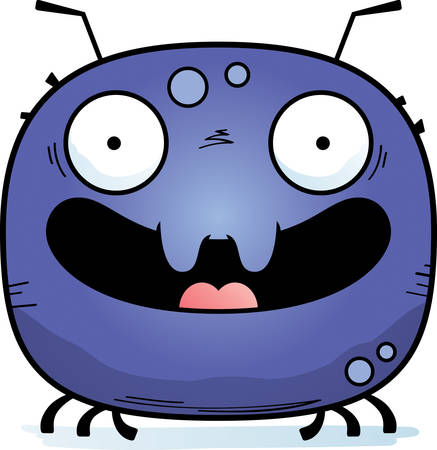 A cartoon illustration of a tick smiling. Illustration