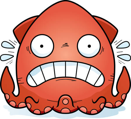 A cartoon illustration of a squid looking scared.
