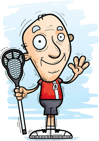 A cartoon illustration of a senior citizen man lacrosse player waving.