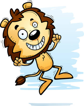 A cartoon illustration of a male lion jumping.