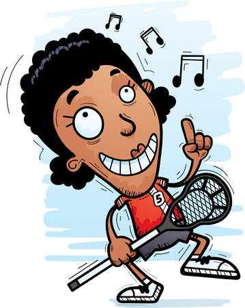 A cartoon illustration of a black woman lacrosse player dancing.