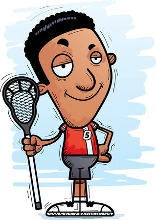 A cartoon illustration of a black man lacrosse player looking confident.