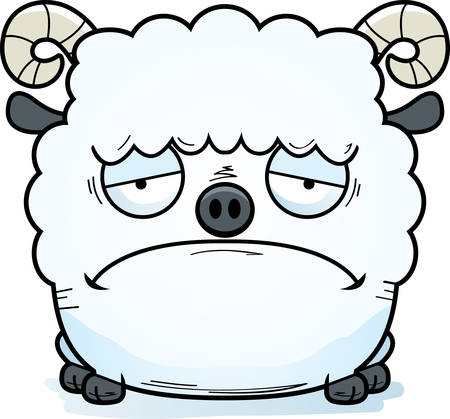 A cartoon illustration of a ram looking sad.