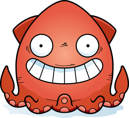A cartoon illustration of a squid looking happy.
