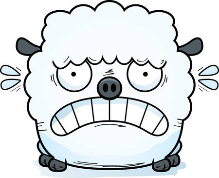 A cartoon illustration of a lamb looking scared.