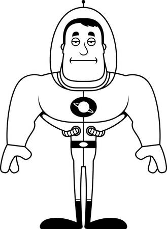 A cartoon spaceman looking bored.