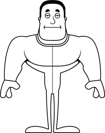 A cartoon man looking bored in pajamas. Ilustração