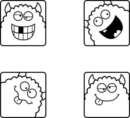 A cartoon icon set of a monster with silly expressions.