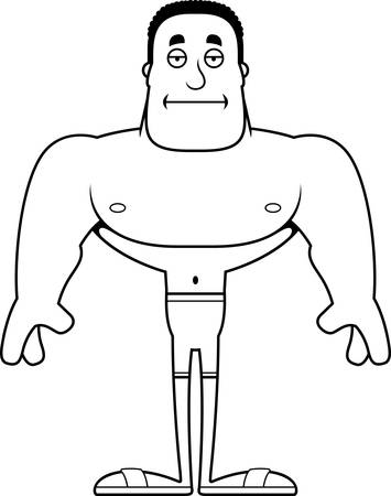 A cartoon man looking bored in a swimsuit.