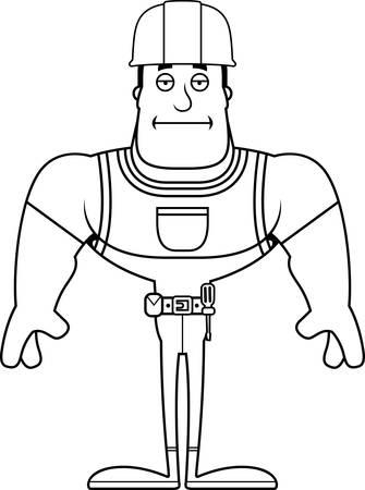 A cartoon construction worker looking bored. Stock Illustratie