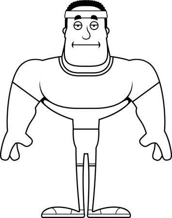 A cartoon fitness man looking bored.