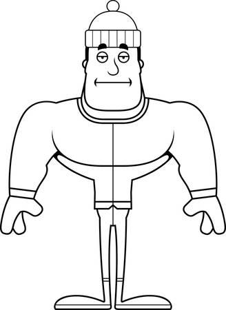 A cartoon winter man looking bored.