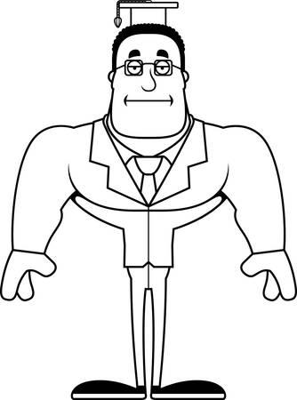 A cartoon teacher looking bored.