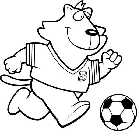 A cartoon illustration of a cat playing soccer. 向量圖像