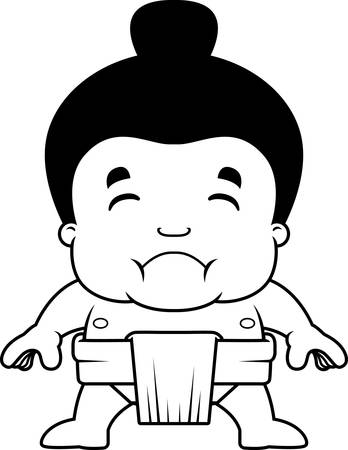 A cartoon illustration of a little sumo boy looking sad. Vettoriali