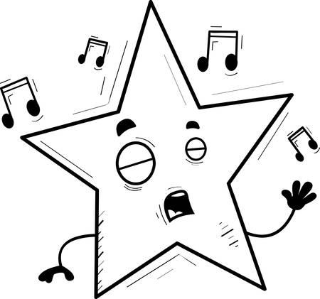 A cartoon illustration of a star singing.