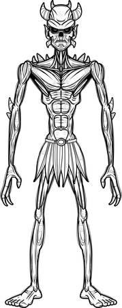 A cartoon illustration of an evil looking demon. Иллюстрация