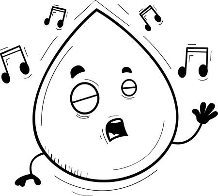 A cartoon illustration of a waterdrop singing. Illusztráció