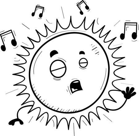 A cartoon illustration of the sun singing.