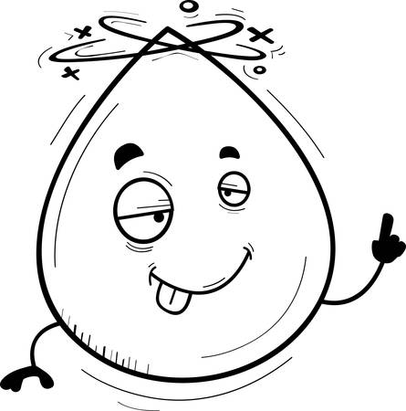 A cartoon illustration of a waterdrop looking drunk.