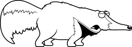 A cartoon illustration of an anteater howling.