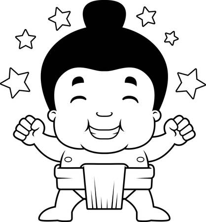 A cartoon illustration of a little sumo boy celebrating. Illustration