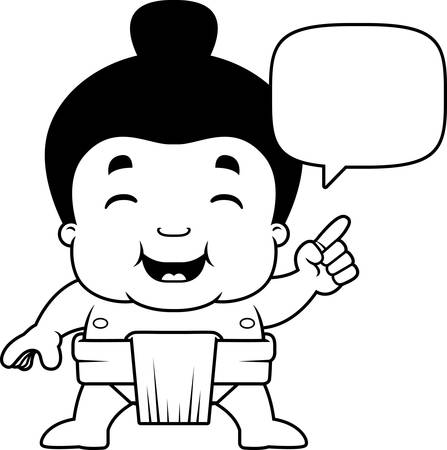 A cartoon illustration of a little sumo boy talking.