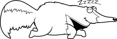 A cartoon illustration of an anteater sleeping.