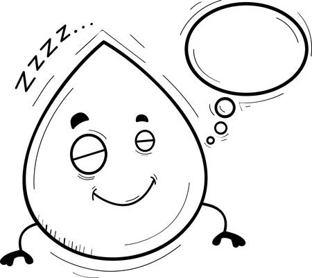A cartoon illustration of a waterdrop sleeping and dreaming.