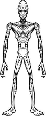 A cartoon illustration of an evil looking alien.