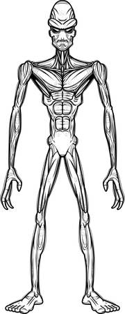 A cartoon illustration of an evil looking alien. Banco de Imagens - 102007035