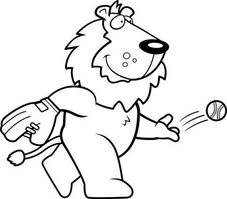 A cartoon illustration of a lion tossing a baseball.