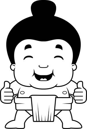 A cartoon illustration of a little sumo boy giving the thumbs up sign.