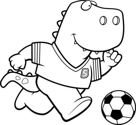 A cartoon illustration of a Tyrannosaurus Rex playing soccer.