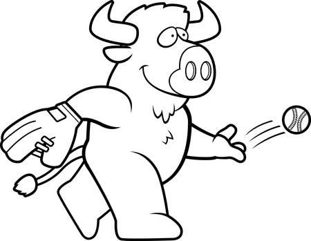 A cartoon illustration of a buffalo tossing a baseball.
