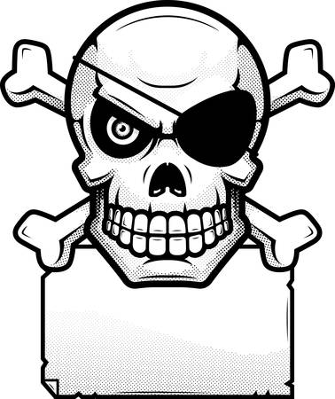 An illustration of a skull and crossbones with a paper sign.