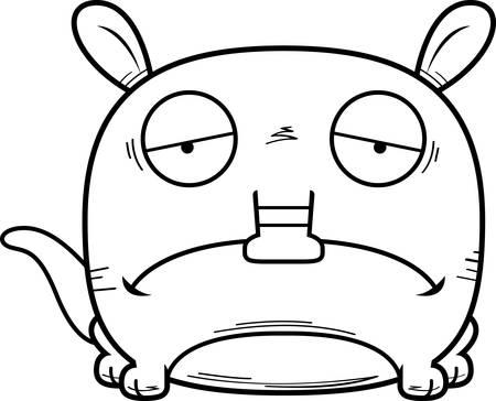 A cartoon illustration of a little aardvark with a sad expression.