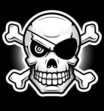 An illustration of a skull and crossbones on a background.