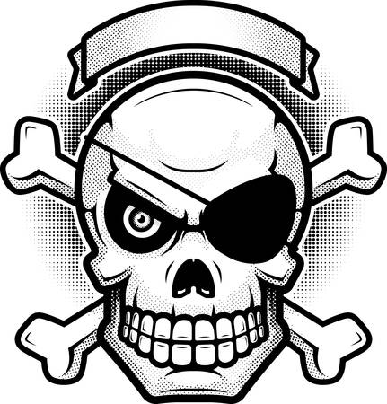 An illustration of a skull and crossbones with banner.