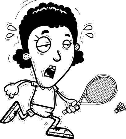 A cartoon illustration of a black woman badminton player running and looking exhausted.