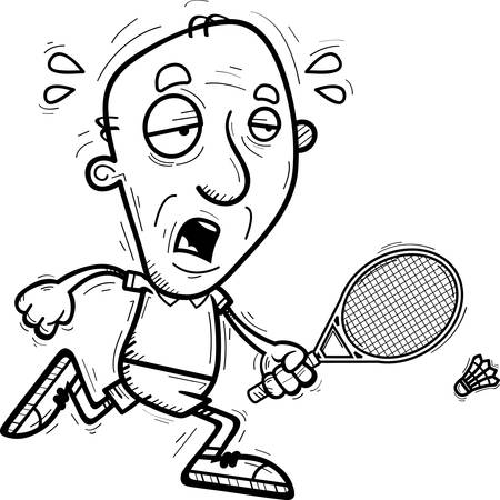 A cartoon illustration of a senior citizen man badminton player running and looking exhausted.