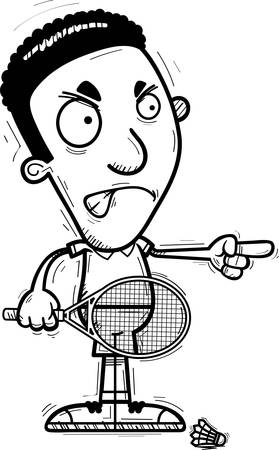 A cartoon illustration of a black man badminton player looking angry and pointing. Illustration
